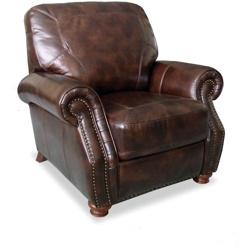 Craftmaster L161150 Traditional High Leg Recliner with Rolled Arms