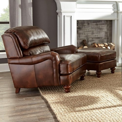 Craftmaster L162250 Chair & Ottoman Leather Set