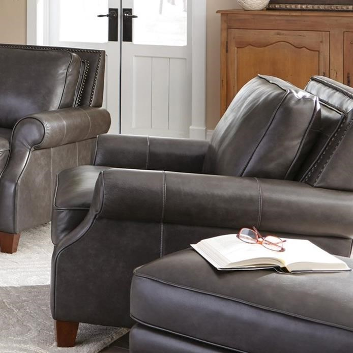 Craftmaster L1640 Transitional Leather Chair With Nailhead