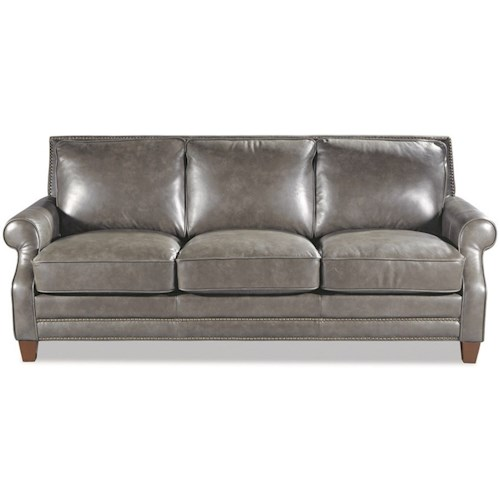Craftmaster L164050 Transitional Leather Sofa with Nailhead Border