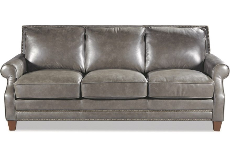 Peachy Craftmaster L164050 Transitional Leather Sofa With Nailhead Theyellowbook Wood Chair Design Ideas Theyellowbookinfo