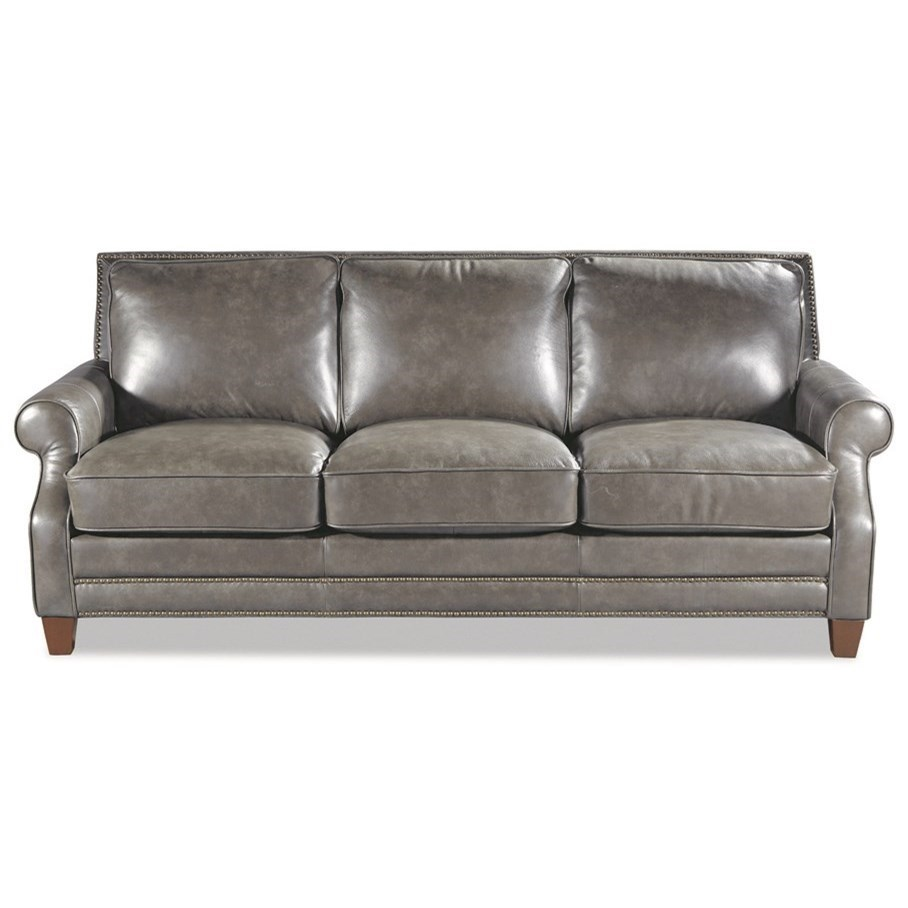 hickory craft l1640 leather sofa with nailhead border