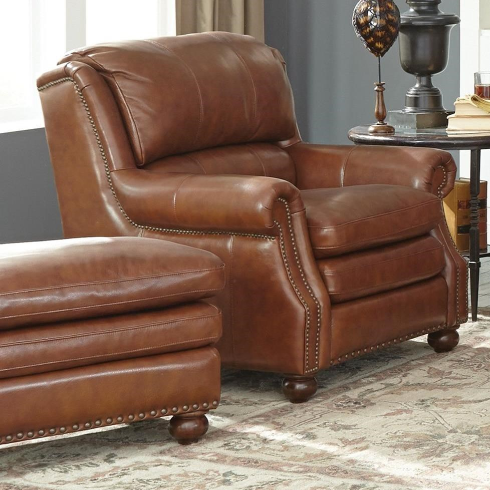 Attrayant Craftmaster L164650Leather Chair And Ottoman Set ...