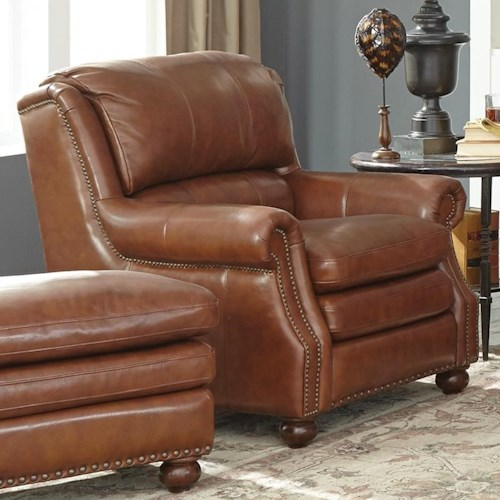 Hickory Craft L1646 Traditional Leather Chair With Bustle Back And Nailhead Trim Godby Home
