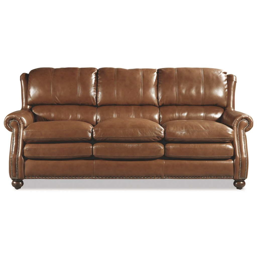 Craftmaster L164650 Traditional Leather Sofa With Bustle Back And  ~ Rolled Arm Leather Sofa