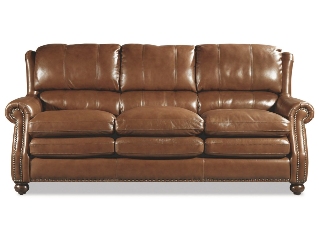 Craftmaster L164650 Traditional Leather Sofa with Bustle Back and ...