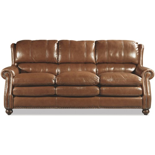 Craftmaster L164650 Traditional Leather Sofa with Bustle Back and Nailhead Trim