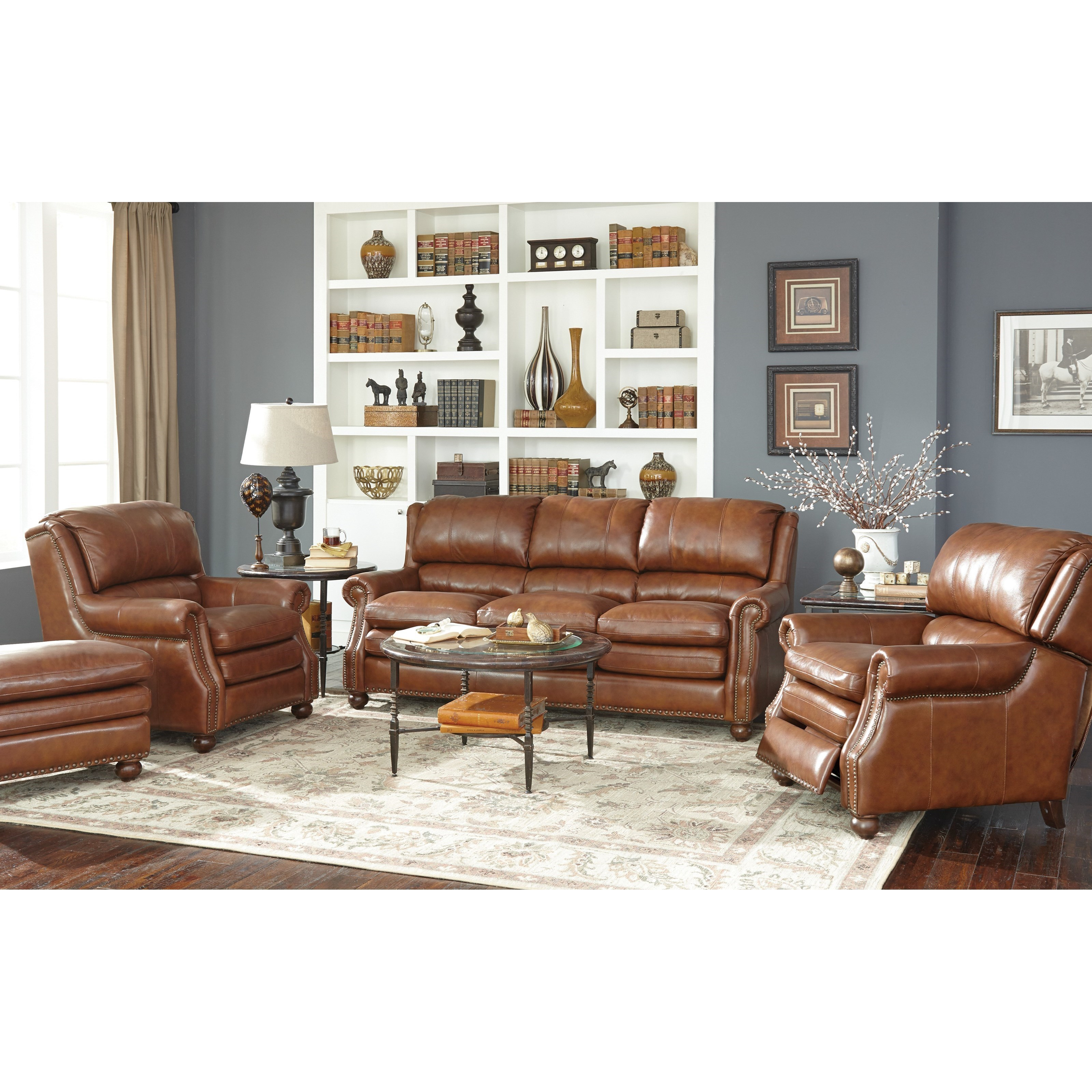 Craftmaster L1646 Traditional Leather Sofa With Bustle Back And Nailhead  Trim