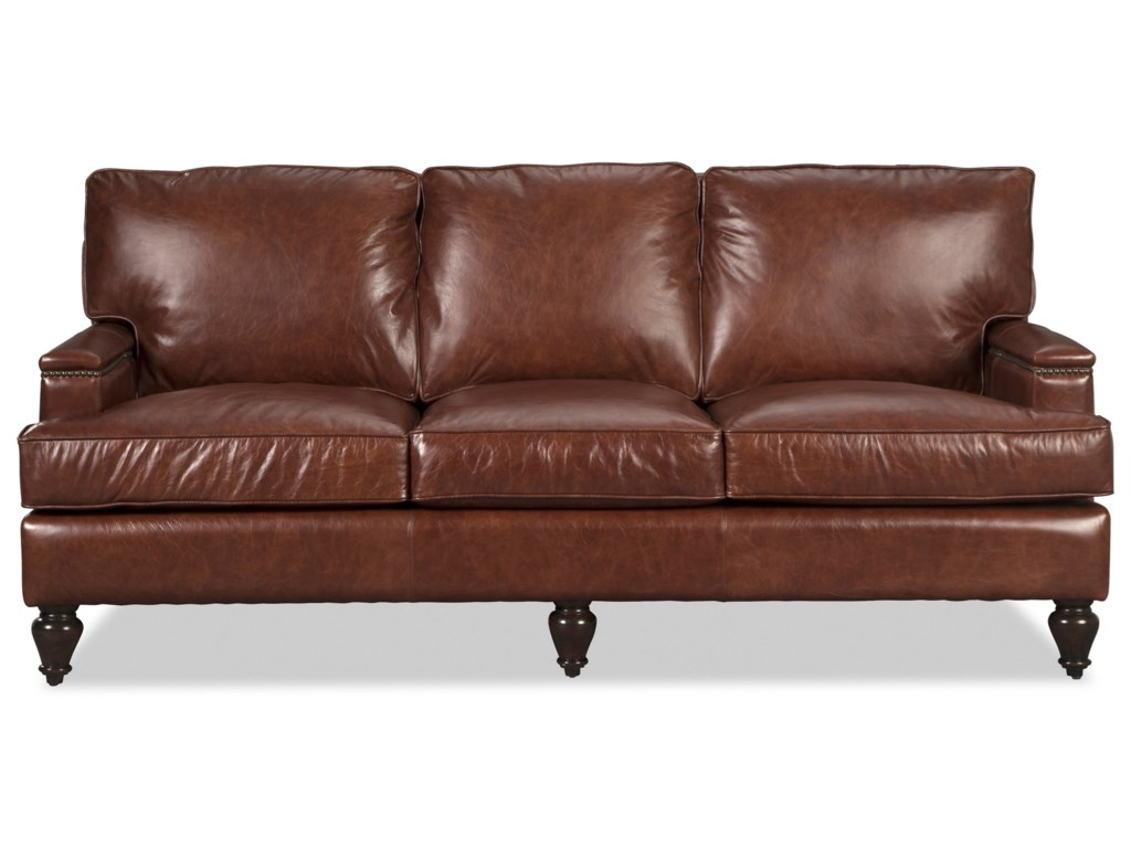 Craftmaster L180950 Traditional 80 Leather Sofa With Nailheads On Arm And Back