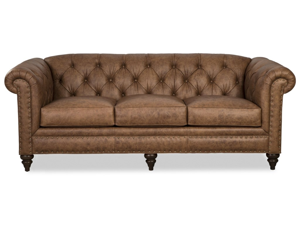 L743150 Traditional 88 Inch Leather Chesterfield Sofa by Craftmaster at  Zak\'s Home