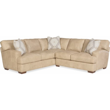 2-Piece Leather Sectional w/ Pillows
