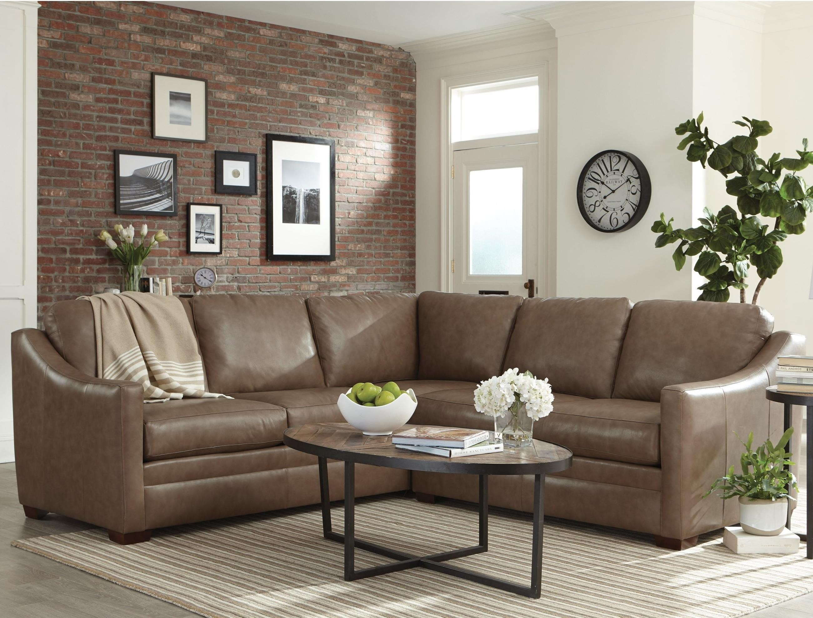 Craftmaster L9 Custom   Design Options Customizable 2 Piece Leather Sectional  Sofa With Track Arms