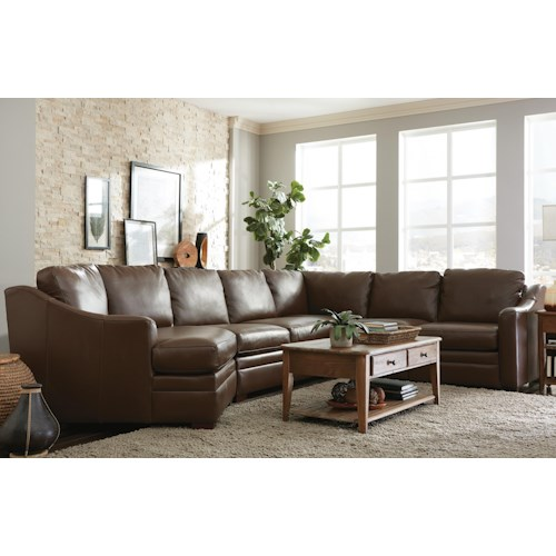 Craftmaster L9 Custom - Design Options Customizable 3 Piece Leather Sectional Sofa with 1 Power Recliner and LAF Cuddler Chair