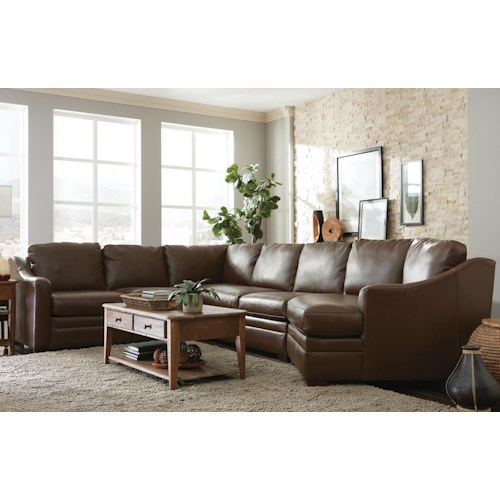 Craftmaster L9 Custom - Design Options Customizable 3 Piece Leather Sectional Sofa with 1 Power Recliner and RAF Cuddler Chair