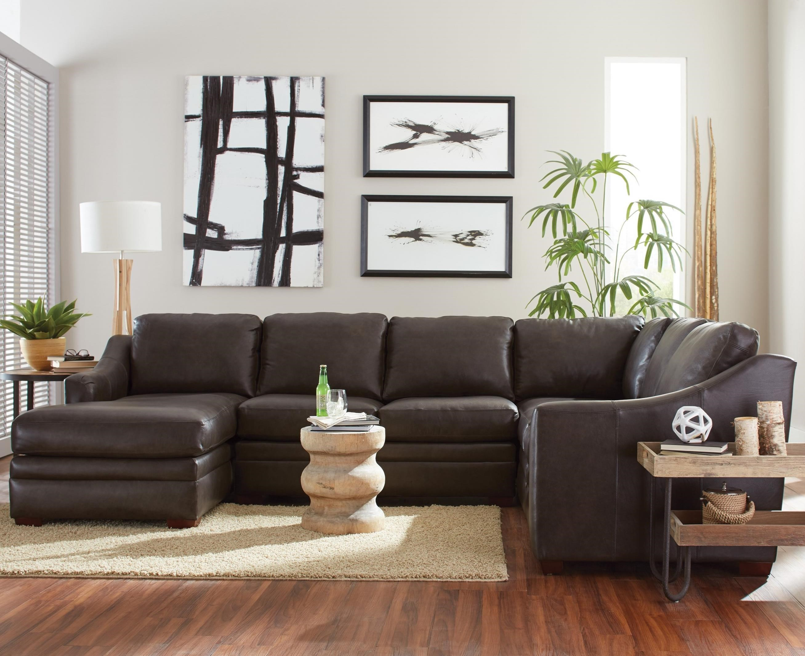 Hickorycraft L9 Custom   Design Options Customizable 3 Piece Leather  Sectional Sofa With 1 Power Recliner