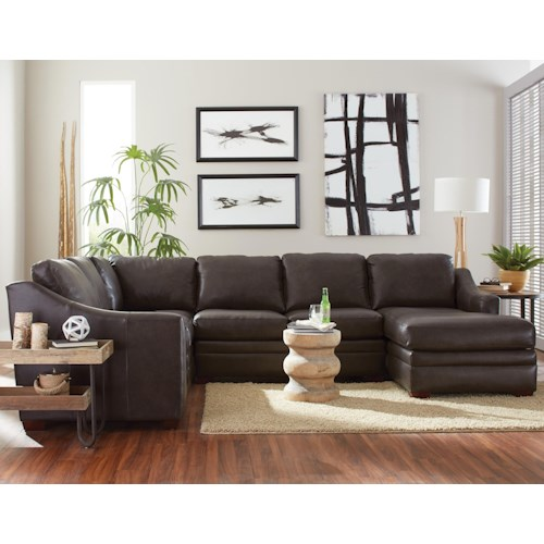 Craftmaster L9 Custom Design Options Customizable 3 Piece Leather Sectional Sofa With 1 Recliner