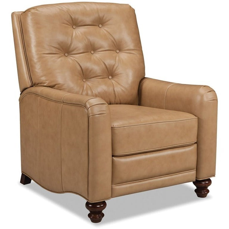 Craftmaster Leather Accents Traditional Leather High Leg Recliner With  Button Tufted Back