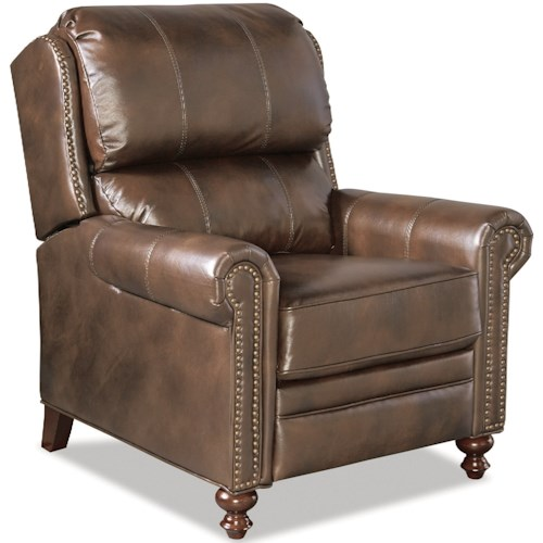Craftmaster Leather Accents Traditional Leather High Leg Recliner with Nailheads