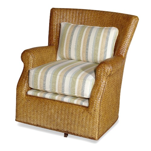 Craftmaster Swivel Chairs Tropical Wicker Swivel Chair with Upholstered Seat