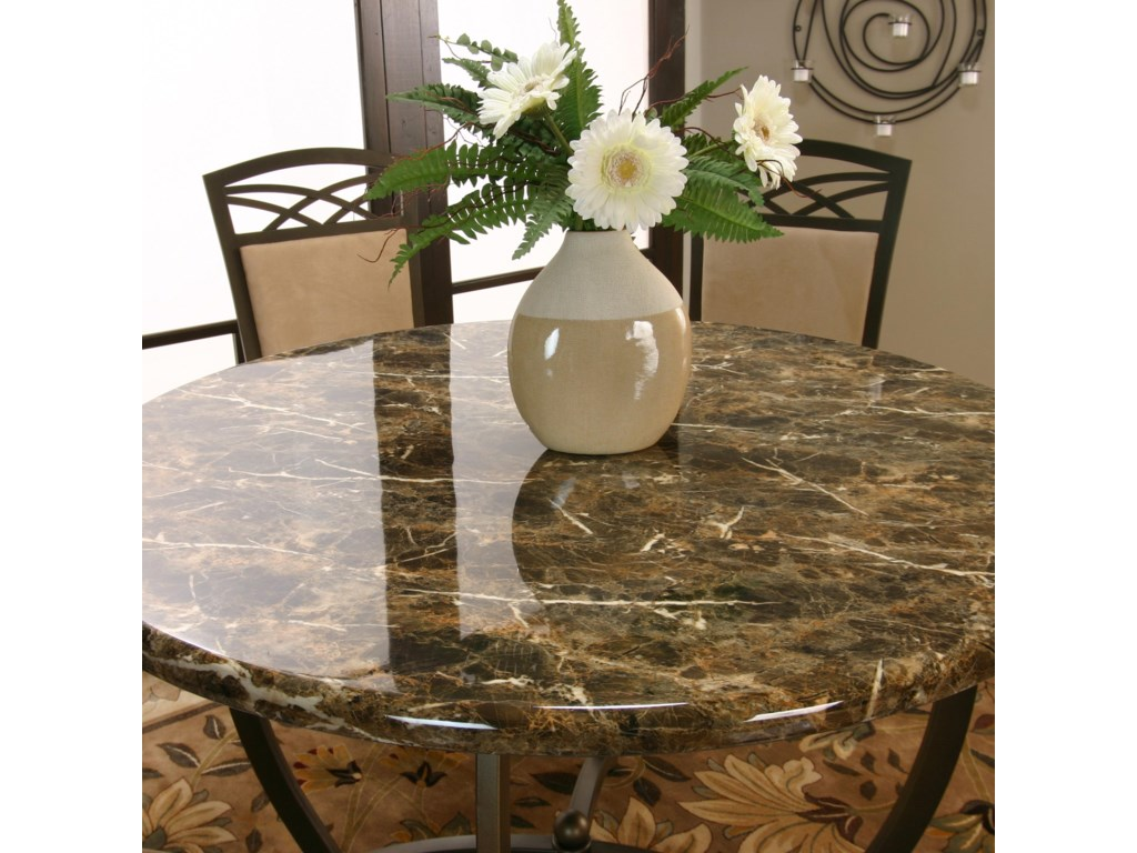 Round Chocolate Faux Marble Top