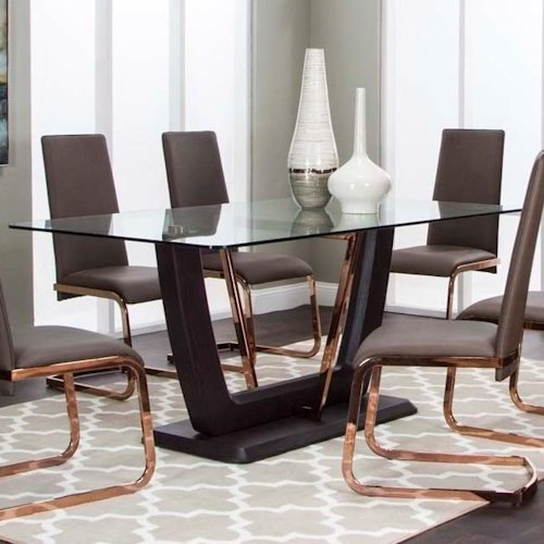 Cramco, Inc Bentley Pedestal Dining Table with Glass Top and Metal Accents