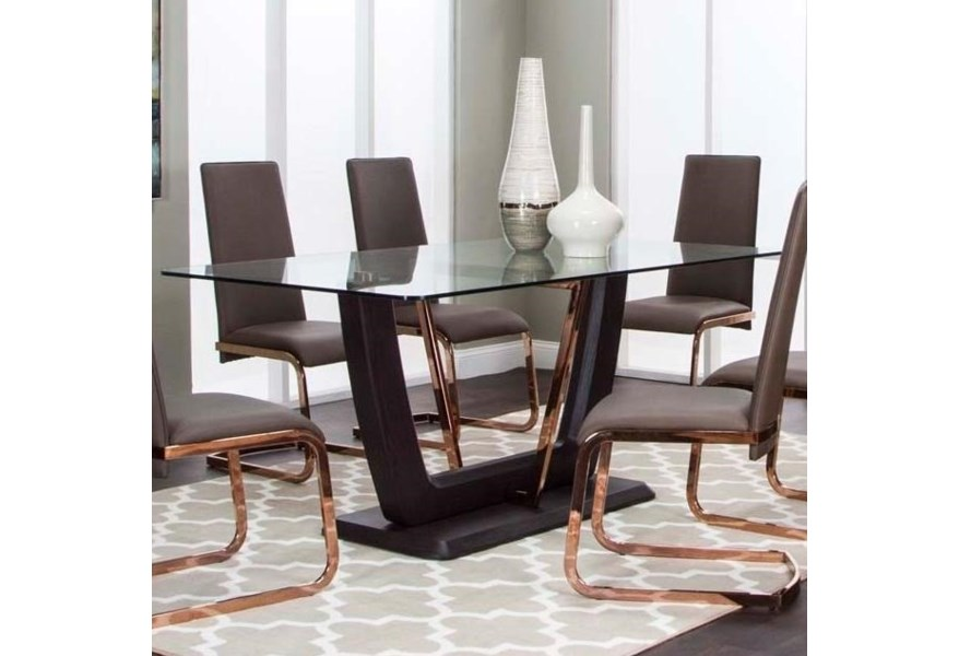 Cramco Inc Bentley G5009 47 45 41 Pedestal Dining Table With Glass Top And Metal Accents Corner Furniture Dining Tables