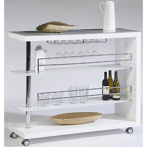 Cramco, Inc Bolero Contemporary Bar Cart w/ Stem Glass