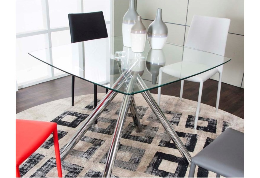Cramco Inc Capri Contemporary Glass Top Table With Chrome Finish Pedestal Base Value City Furniture Kitchen Tables