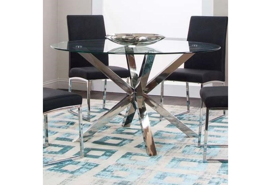 Cramco Inc Classic 54 Round Glass Dining Table Value City Furniture Dining Tables