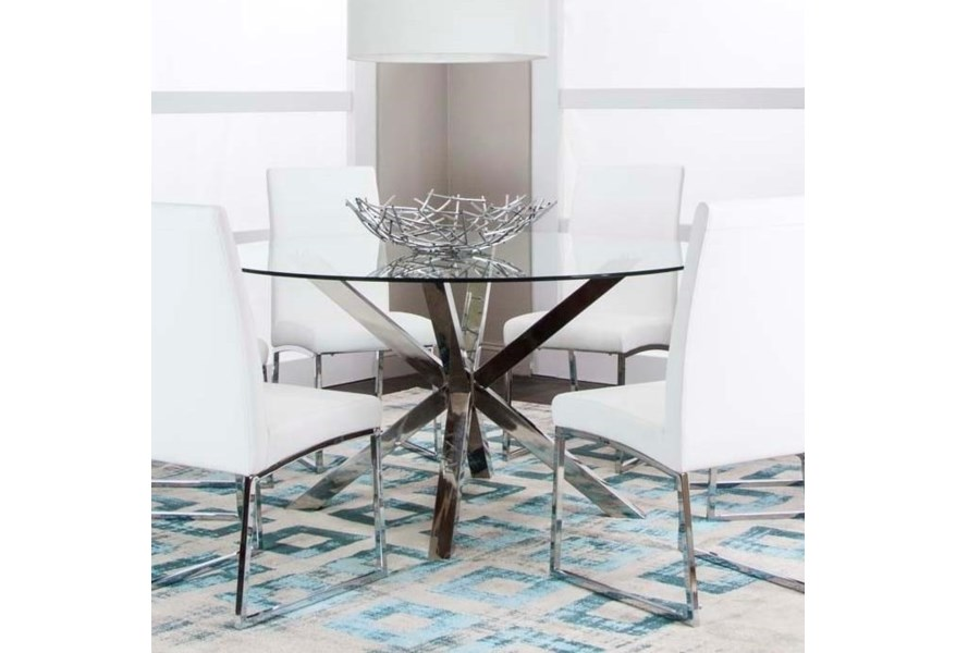 Cramco Inc Classic 59 Round Glass Dining Table Value City Furniture Dining Tables