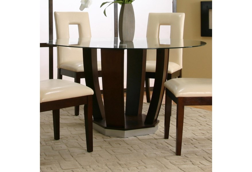 Contemporary Design - Emerson Round Tempered Glass Table w/ Dark Cherry  Pedestal Base by Cramco, Inc at Corner Furniture