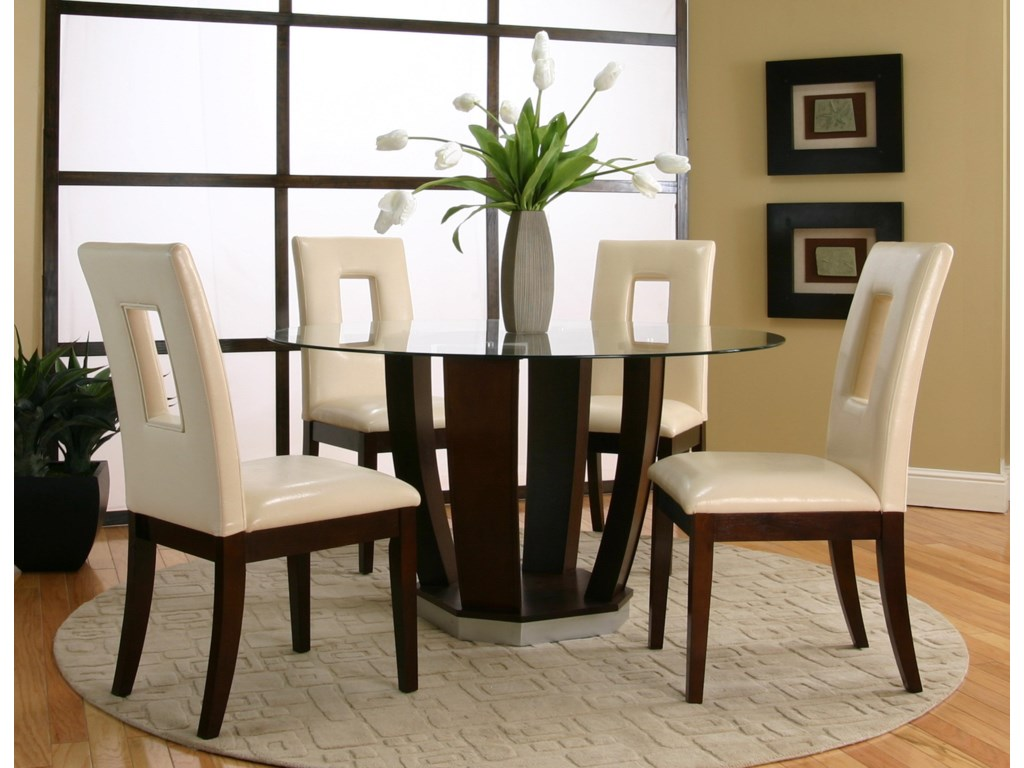 Shown as Part of 5 Piece Table Set with Cut Out Back Chairs