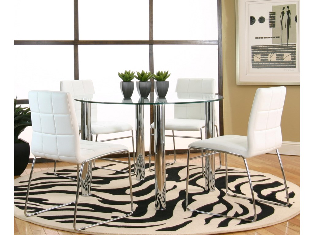 4 Chairs Shown with Round Glass Table with Chrome Legs