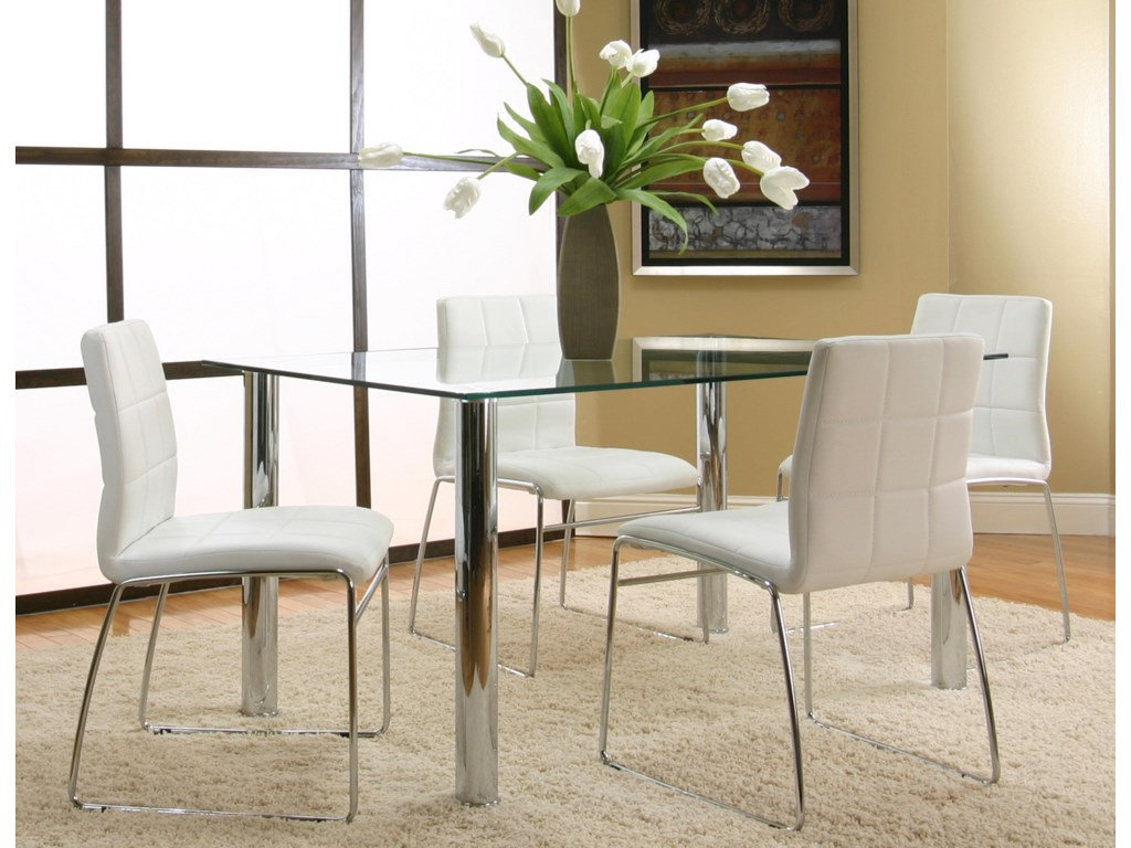 4 Chairs Shown with Rectangular Glass Table with Chrome Legs