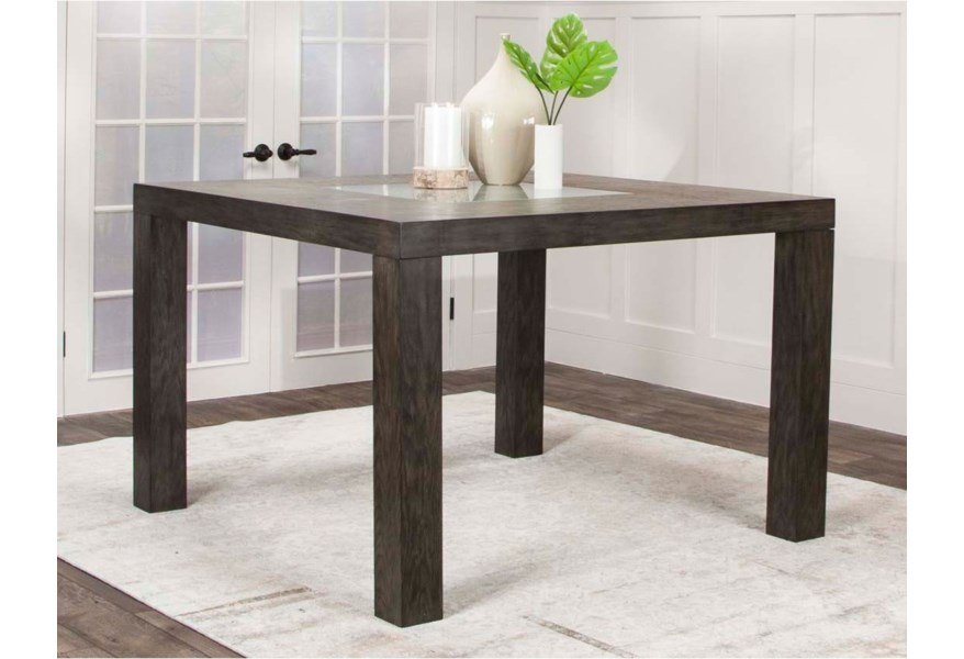 Cramco Inc Cougar Wooden Square Counter Height Dining Table With Glass Insert Value City Furniture Dining Tables