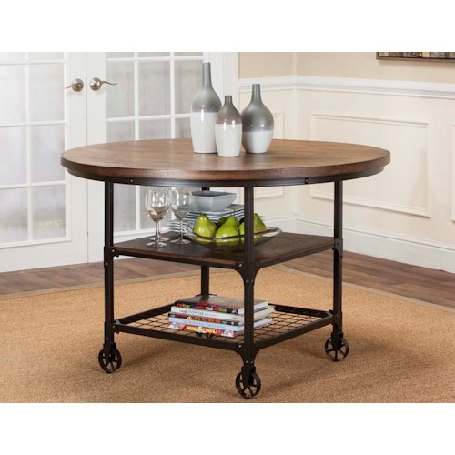 Cramco, Inc Craft Round Rustic Dining Table with Storage