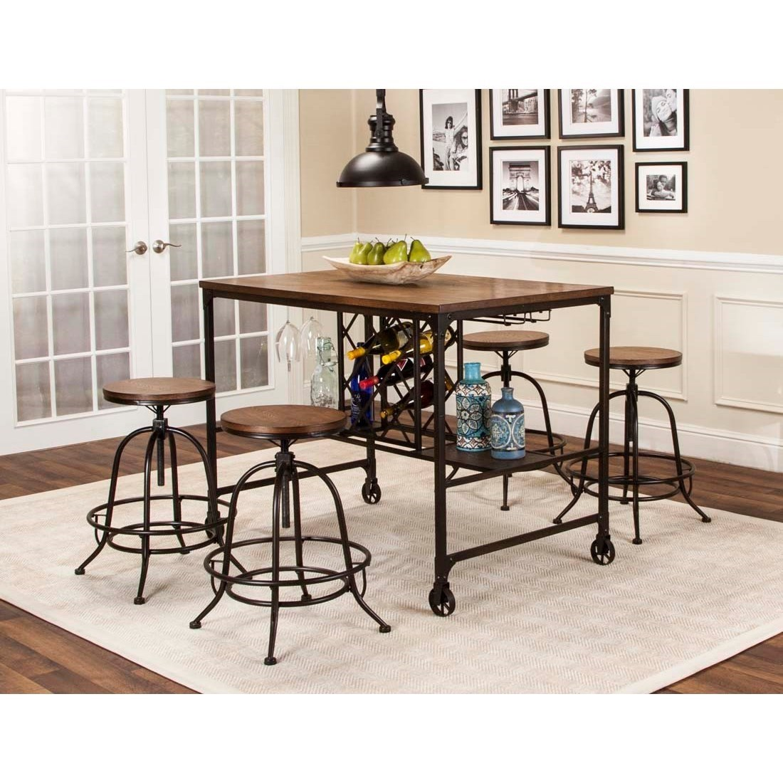 Cramco Inc Craft 5 Piece Counter Height Storage Table and Swivel Stool Dining Set  sc 1 st  Royal Furniture & Cramco Inc Craft 5 Piece Counter Height Storage Table and Swivel ...