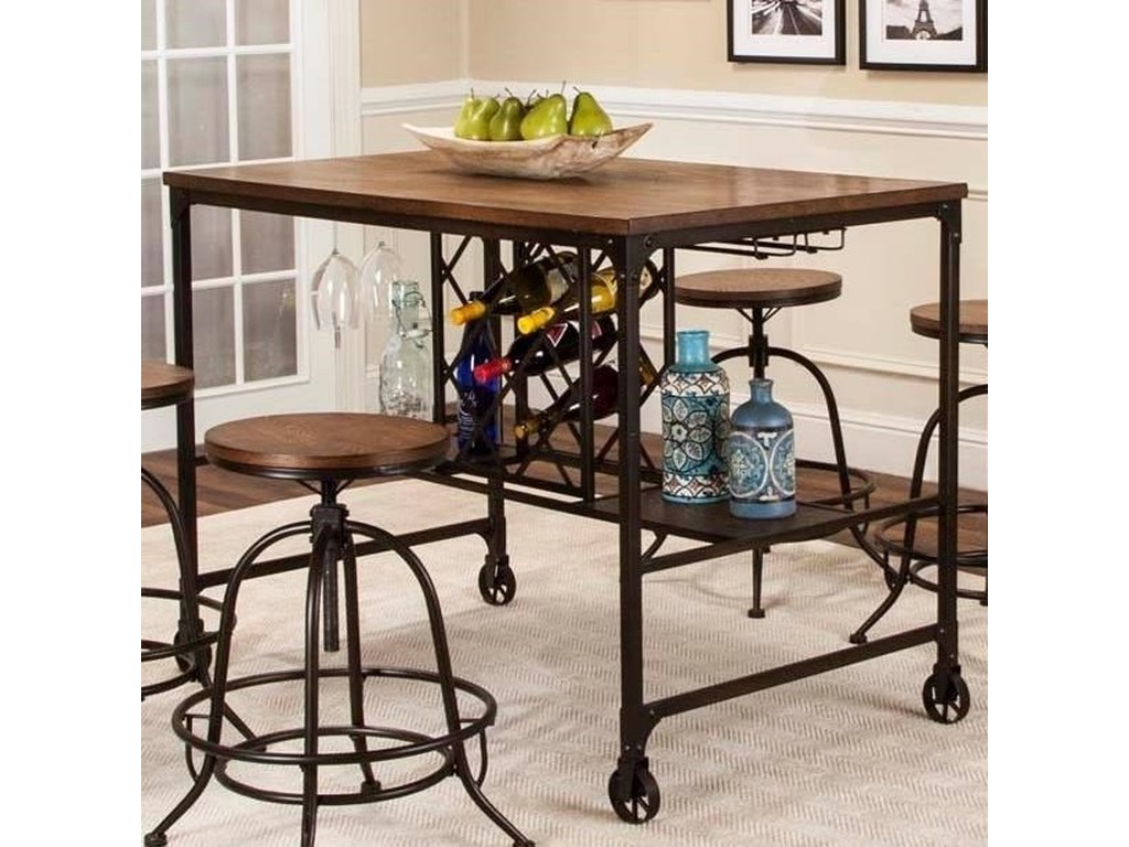 Craft Counter Height Metal And Wood Pub Table By Cramco Inc At Royal Furniture