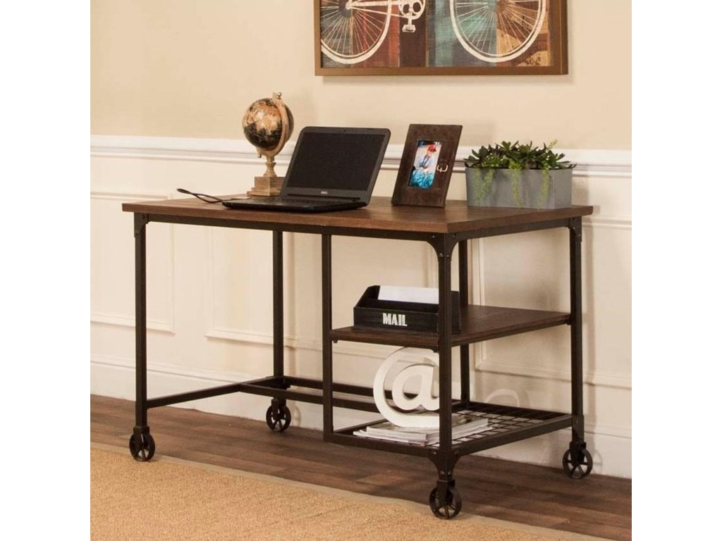 Cramco Inc Craft Industrial Metal Table Desk With Rustic Elm Wood Top
