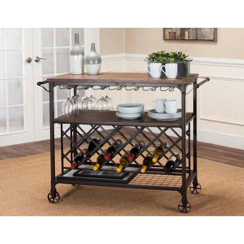 Cramco, Inc Craft Metal and Wood Serving Cart with Wine Rack