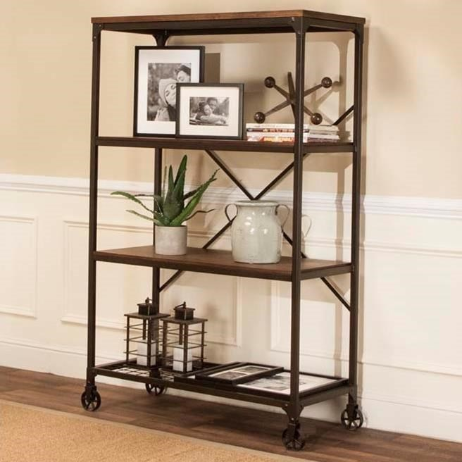 Craft Wide Back Metal Wood Bookcase With Three Shelves By Cramco Inc At Royal Furniture