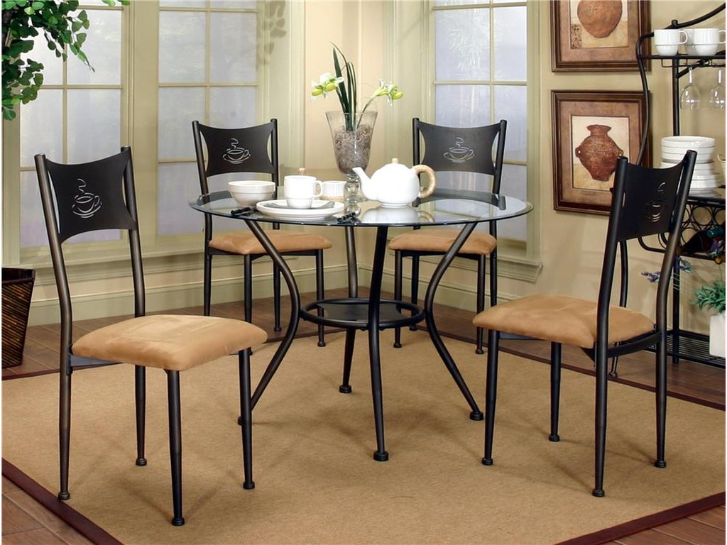 Cramco, Inc Cramco Trading Company - MaxwellDining Side Chairs and Glass Top Table Set