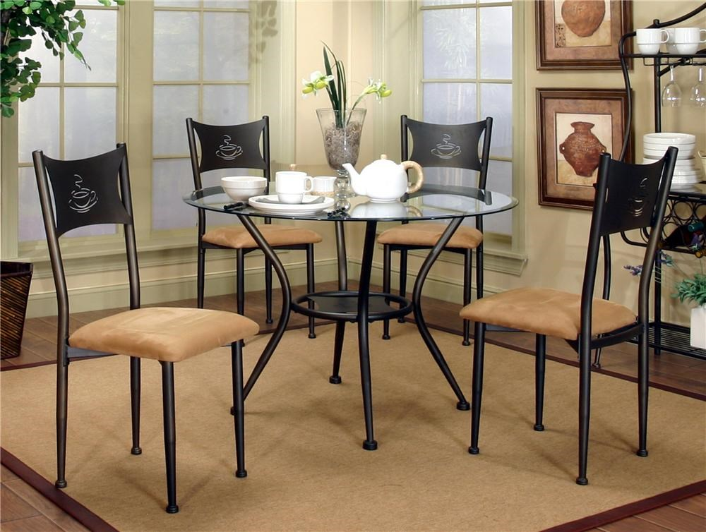 Cramco, Inc MaxwellDining Side Chairs And Glass Top Table Set ...