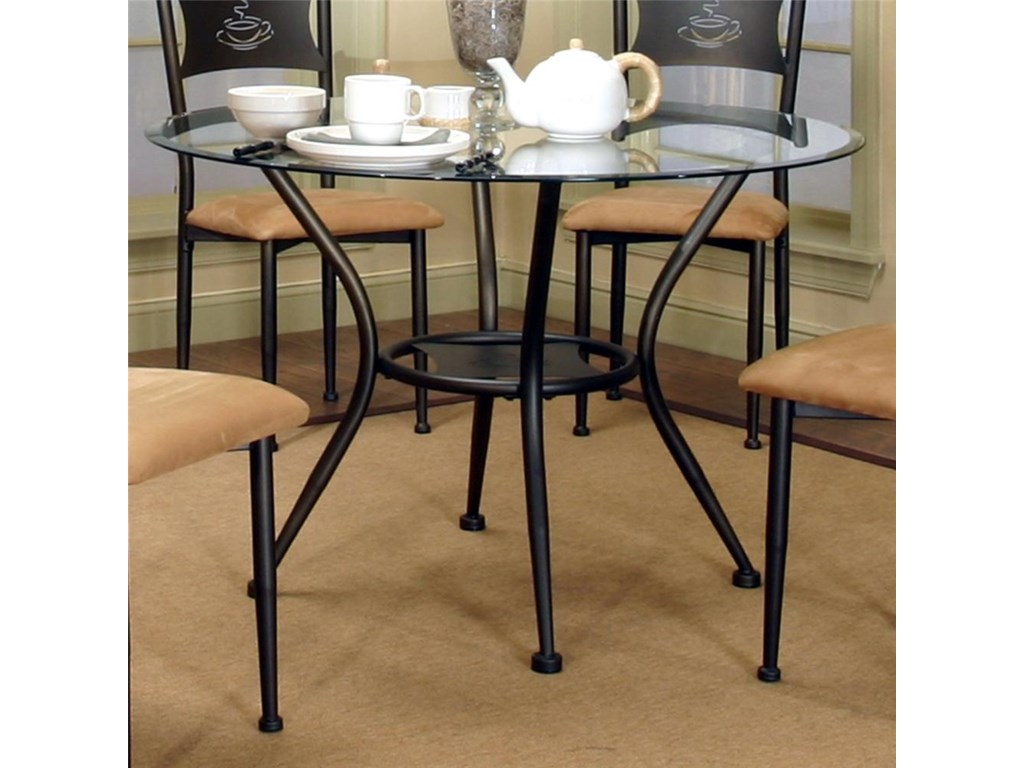 Cramco Inc Maxwell 45 Round Beveled Edge Glass Top Table Royal - Glass-topped-dining-room-tables
