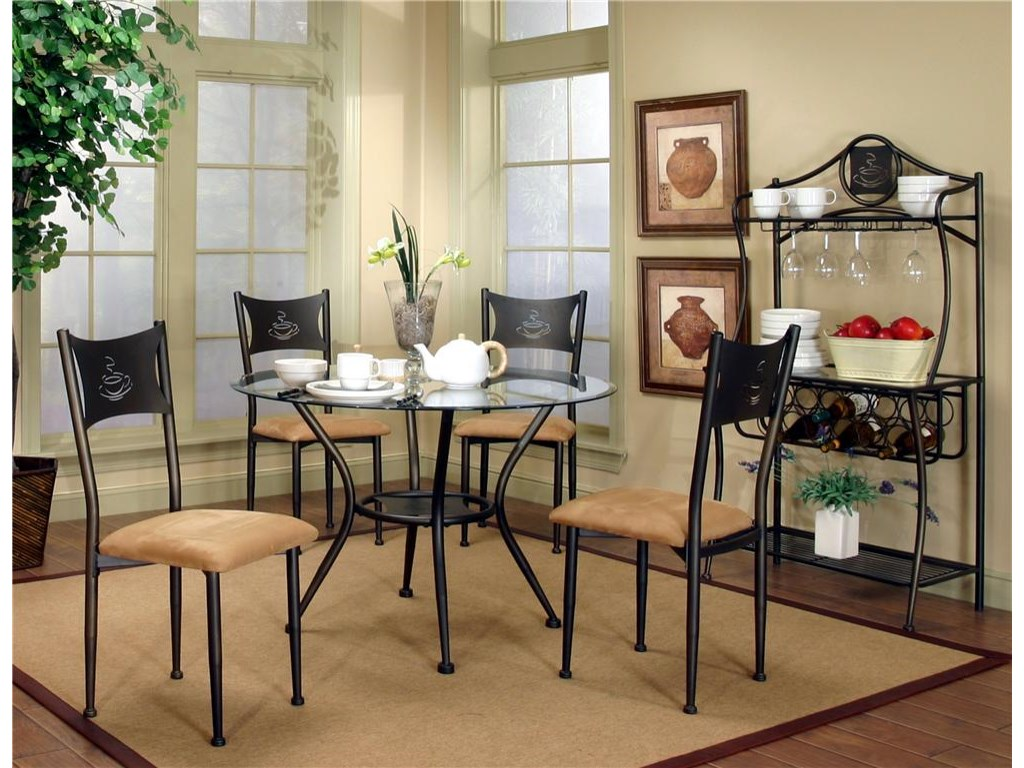 Table Shown with Four Dining Side Chairs and Baker's Rack.
