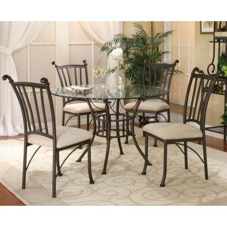 5 Piece Round Glass Table with Chairs