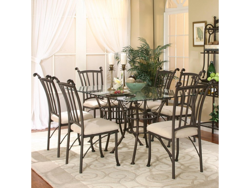 Cramco, Inc Denali7 Piece Rectangular Glass Table with Chairs