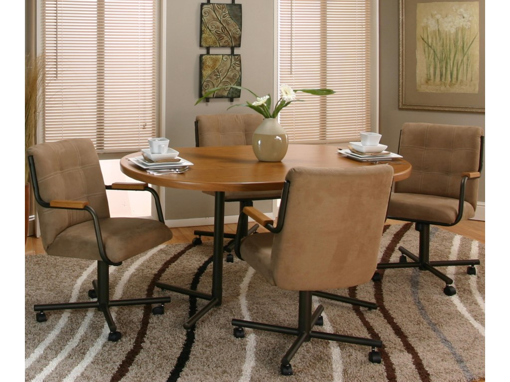 Swivel Chair Shown with Rustic Oak Table