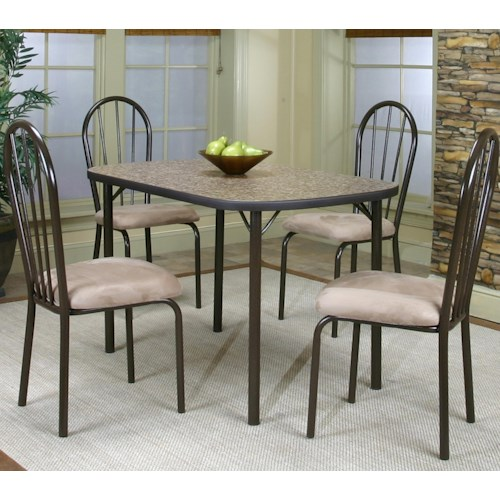 Cramco, Inc Cramco Dinettes - Heath Bow End Woodstock Granite Laminate Top Table