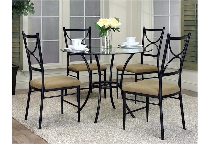 Cramco Inc Hudson W2230 70 41 5 Piece Round Glass Top Table Set Corner Furniture Dining 5 Piece Set